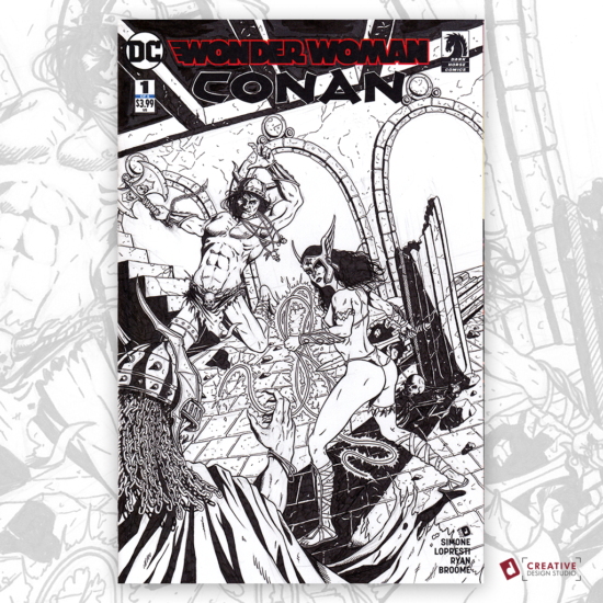 Wonder Woman Conan Original Artwork Sketch Cover
