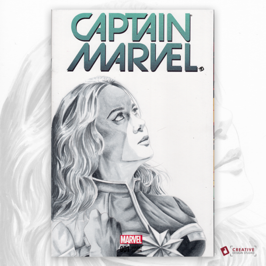 Captain Marvel Original Artwork Sketch Cover