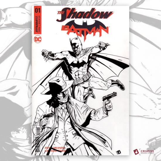 The Shadow Batman Original Artwork Sketch Cover