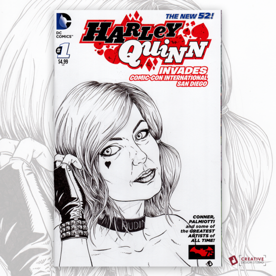 Harley Quinn Original Artwork Sketch Cover