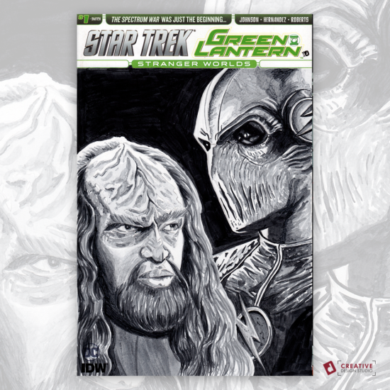 Star Trek Green Lantern Original Artwork Sketch Cover