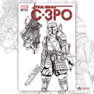 C-3PO Original Artwork Sketch Cover
