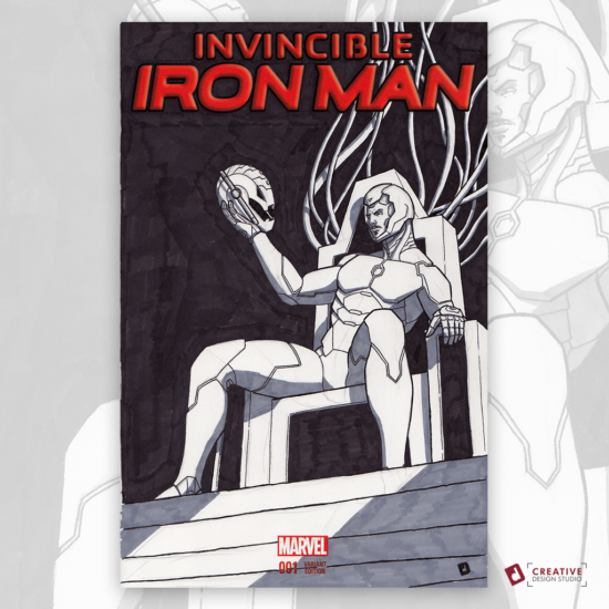 Invincible Iron Man Original Artwork Sketch Cover