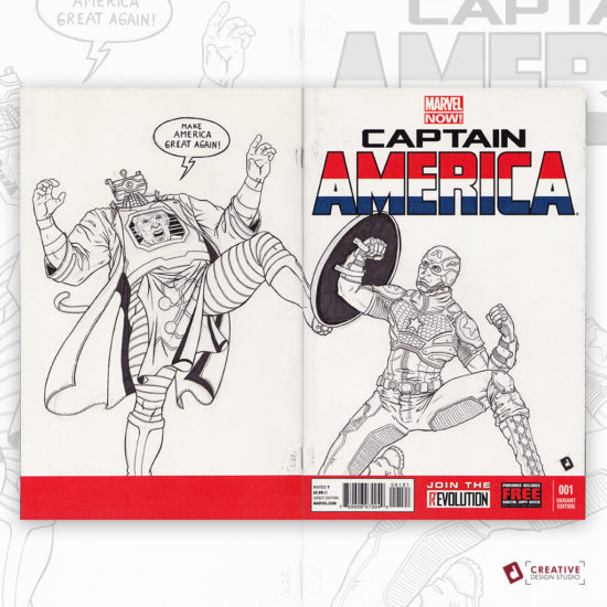 Captain America Original Artwork Sketch Cover