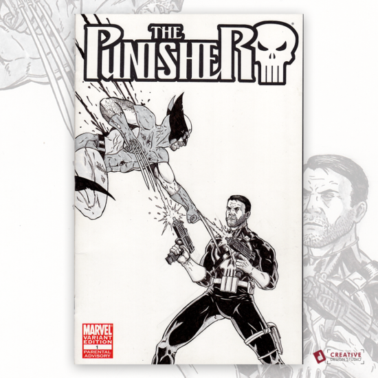 Punisher Wolverine Sketch Cover